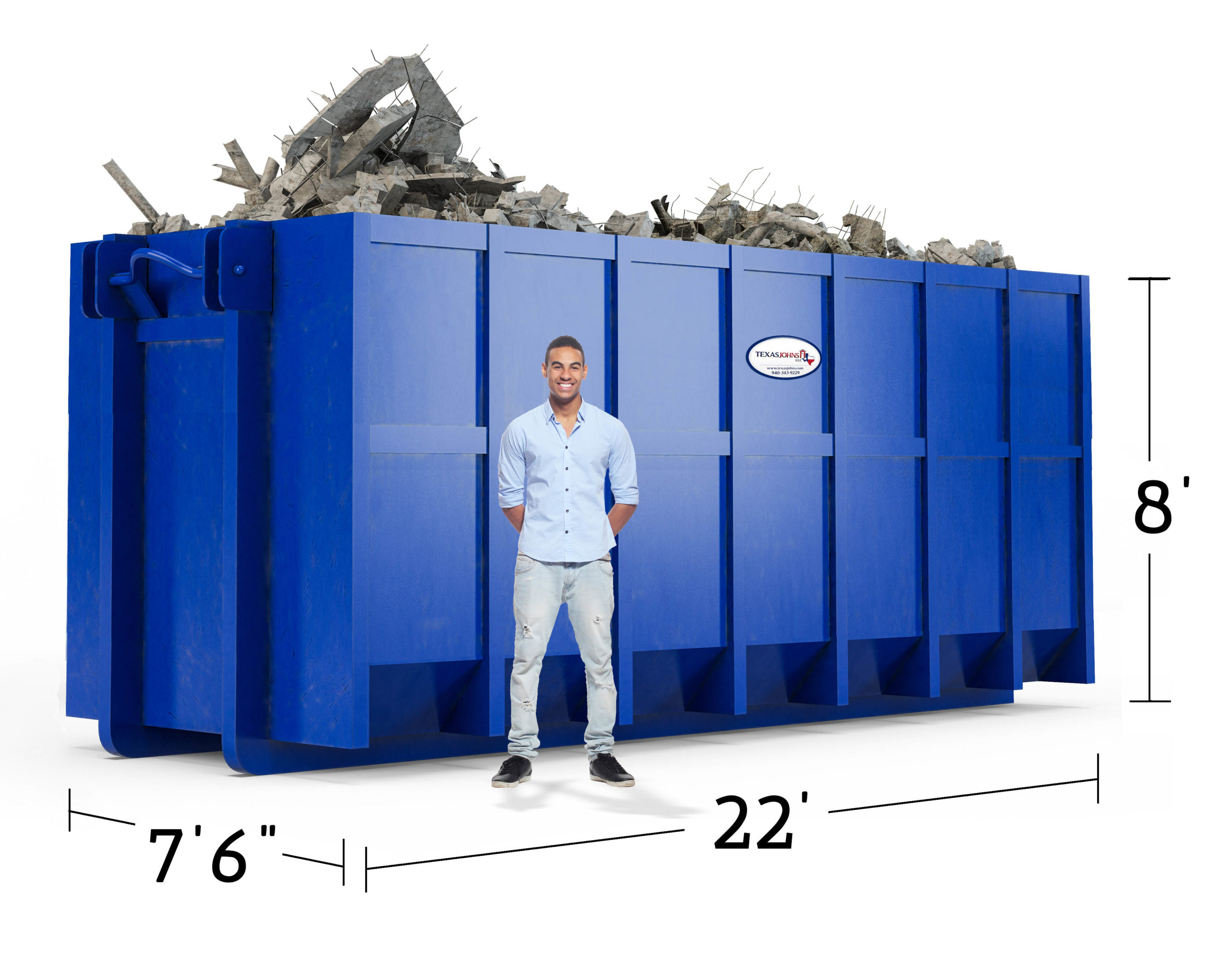 image of 7.5 x 22 x 8 dumpster